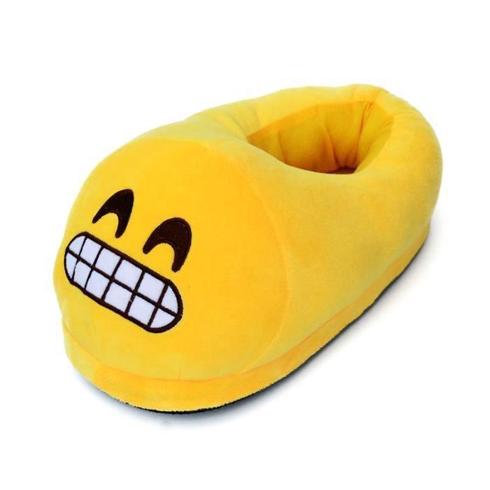 #4 une paire de chaussons pantoufles chaussures amusantes pour maison domestique Expression Imoji drôle contents dents Jaune