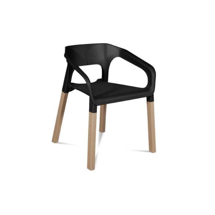 chaise lot de 2 chaises bois moderne kraft coloris noir - Chaise Bois Moderne