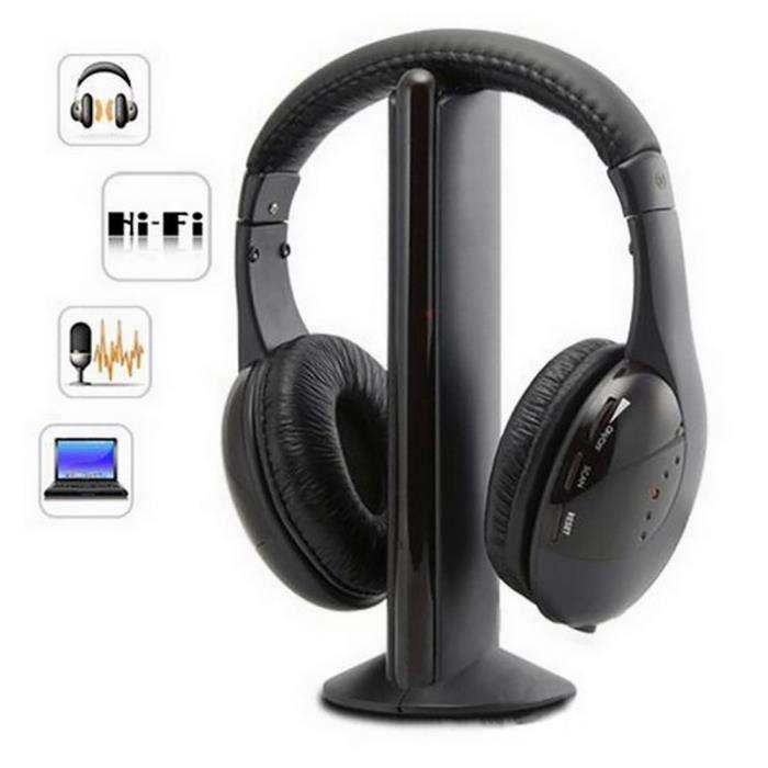 5in1 Hi-fi Casque Sans Fil Écouteur Pour Pc Portable Tv Radio Fm Mp3-004 - Htrmew-a0566