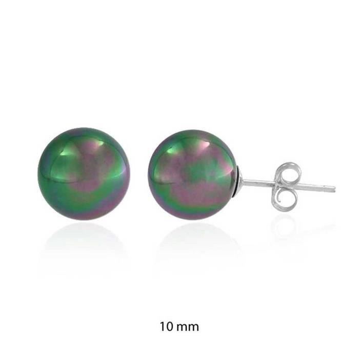 Arc-En-Paon Perles Simulées Boucles DOreille En Argent Sterling 10Mm