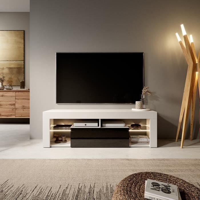 Meuble tv banc tv hugo 140 cm blanc mat noir - Meuble tv noir brillant ...