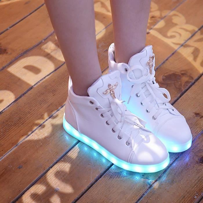Pure Color Nouveaux Casual Bottes hautes de la femme avec la lumi re LED