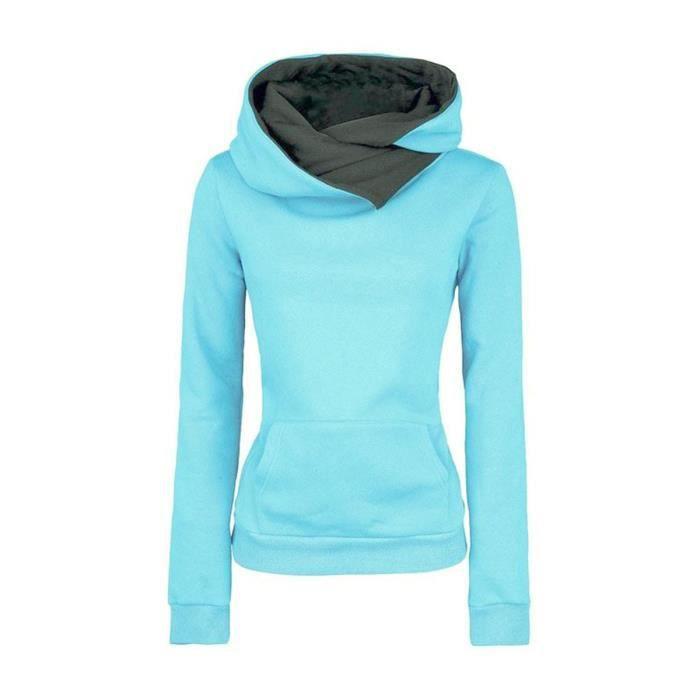 OKPOW Sweat à Capuche avec Poche pour Femmes Filles Hoodie Pull en Coton  Manches Longues Fashion Décontracté Loisir 5d8fbb447103
