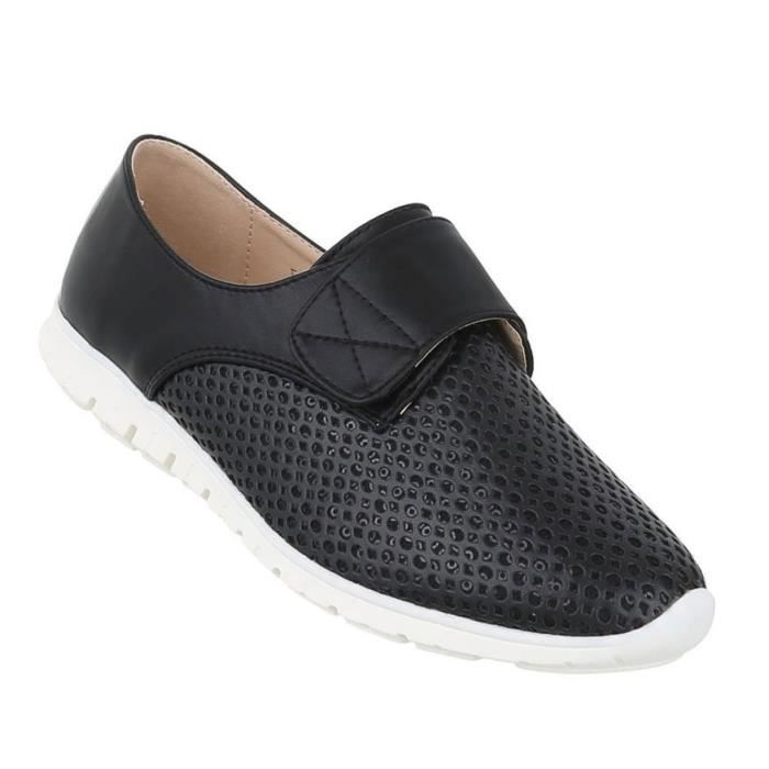 Femme chaussure bassechaussures Perforierte Slipper noir 37 2fbz5teJrG
