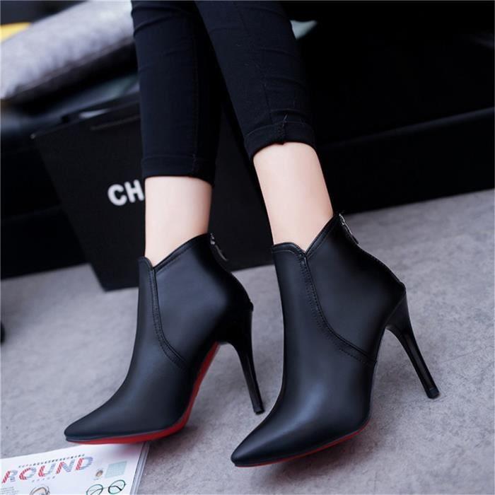 Botte Femme talon haut en cuir Casual solide Couleur Stiletto talon noir taille8 eyare