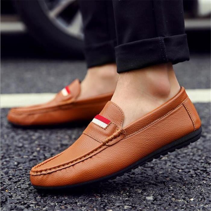 Hommes Sneaker De Marque De Luxe Haut qualité les chaussures de loisirs Confortable Homme Moccasins Respirantdssx084marron39 lM28tFB