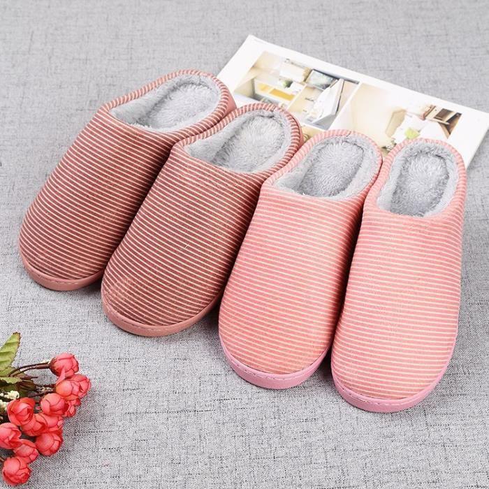 cuir couleur unie de haute qualité tissu velours pantoufles couple confortables avec des chaussons en coton épais,marron foncé,44
