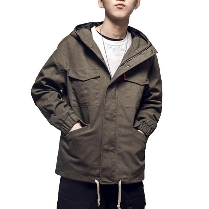 boutique pour officiel nouvelles images de rétro Veste homme à capuche cargo grande taille oversize mode casual Manteau  Homme Multi-poches