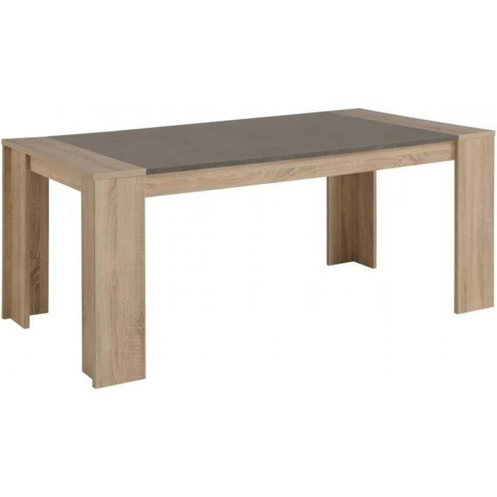 Table à manger plaqué en chêne brut effet béton, L 177 x H 75 x P ...