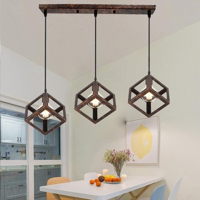 Lustre suspension design cube m tal industriel barre 3 lampes luminaire int rieur salle manger - Lustre salle a manger design ...