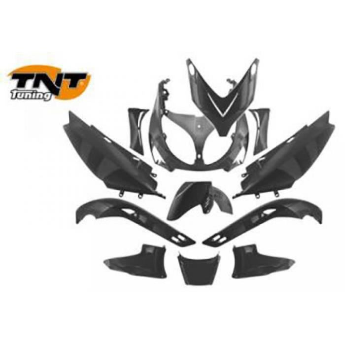 Kit carénage Yamaha Tmax pour 500 cc de 2001 a 2007 367001 etat Kit  carénages marque TNT 12 pièces Noir brillant comprenant pet…