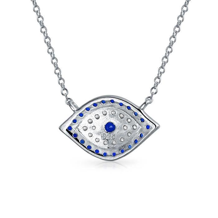 Bling Jewelry Bijoux en Argent Sterling 925 Saphir simulées CZ oeil mauvais collier 16 pouces