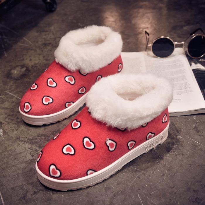 Chaud motif Flats Forme rouge Neige Femmes Chaussures Coeur Jeffrey De Automne En Chaussures Hiver Bottes X4qxqB