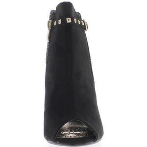Bottines ouvertes noires à talon fin de 11cm aspect daim et croco HHPfU