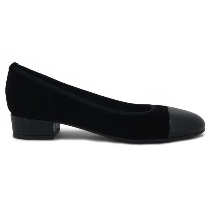 Mercante di Fiori ballerine en daim et en cuir noir brillant, talon 3cm. et semelle antidérapante en caoutchouc, ZH236 e17