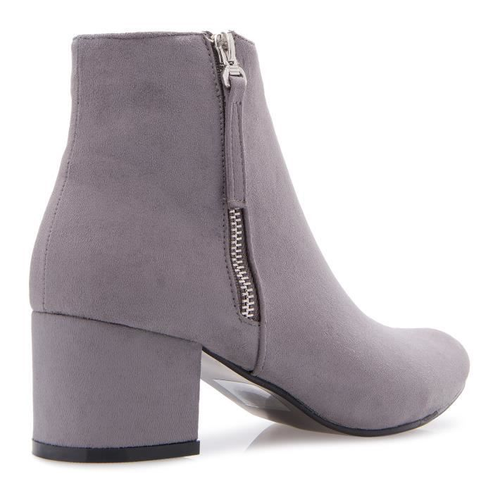 Casual Comfortable Low Mid Heel Faux Leather Suede Pointy Toe Ankle Booties With Zipper Closure Q1G3S Taille-39 mKv33
