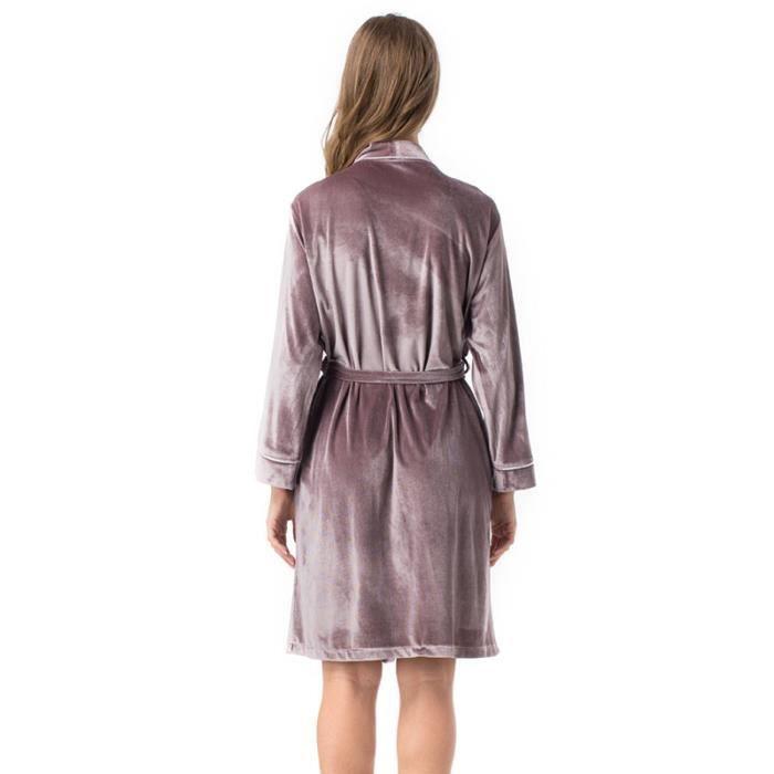 Ceinture Unie Longues longue Femme Couleur Pyjama Avec Manches Velours Mi qZXgxxw1z