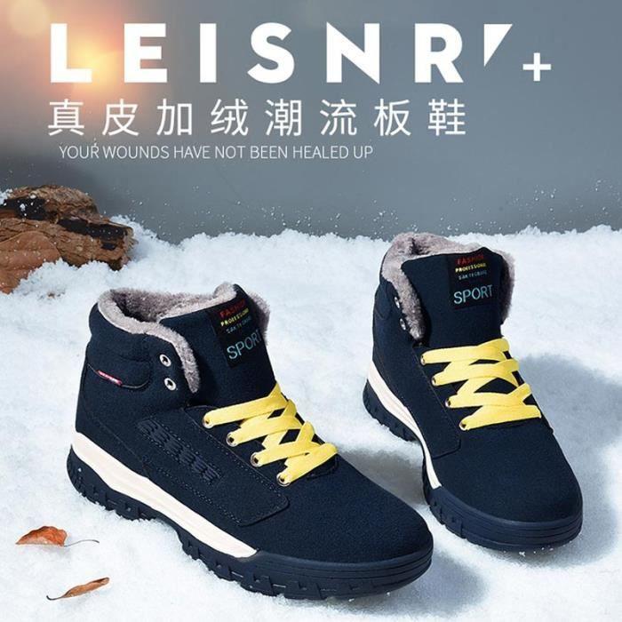 Mode d'hiver Bottines Hommes Chaussures Chaudes Casual Bottes fourrure court pHsGLuS
