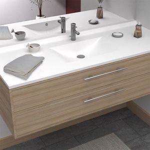 CREAZUR Plan simple vasque Blanc 140cm