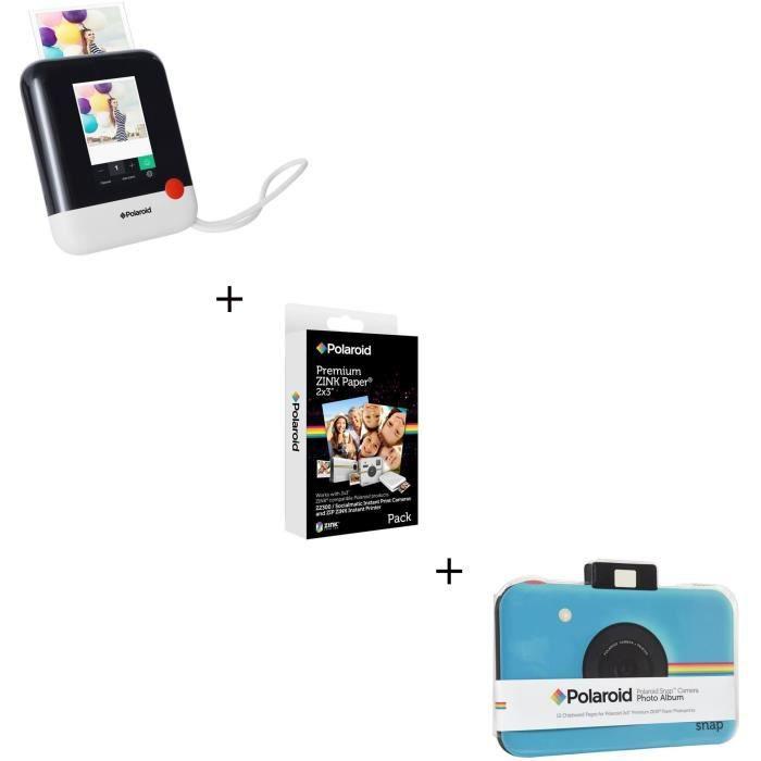 POLAROID SNAP Blanc - 10 mégapixels Appareil photo instantané compact + Recharge papier pour ZIP / SNAP + Album scrapbooking