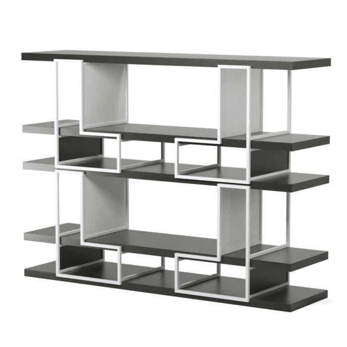 biblioth que modulable contemporain en m tal et mdf laqu brillant blanc et noir l 172 cm. Black Bedroom Furniture Sets. Home Design Ideas