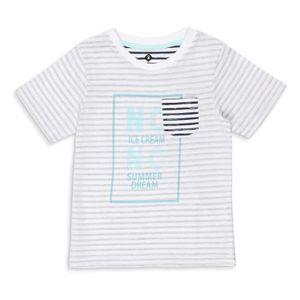 9370478d460 T-SHIRT Z T-shirt Jersey à Rayures Blanc et Bleu Marine En