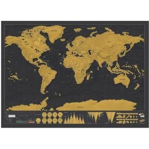 OBJET DÉCORATION MURALE Carte du Monde à Gratter Scratch Map Carte montre