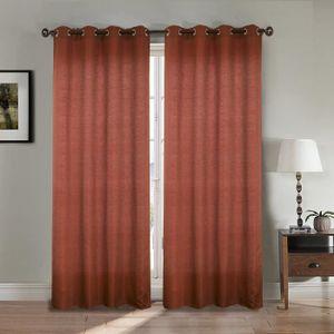 RIDEAU Paire double rideaux 140x260 cm Bordeaux - Effet l