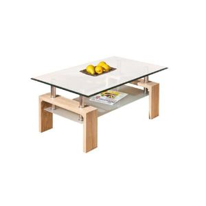 TABLE BASSE Table basse rectangulaire moderne plateau verre sa
