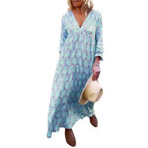 ROBE Minetom Femme Robe Longue Bohème Manches Longues C