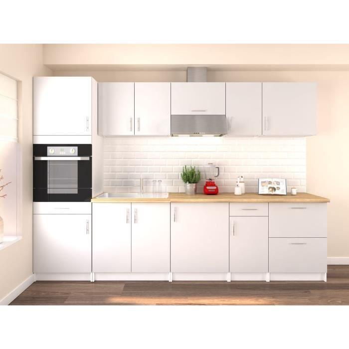 Obi cuisine compl te l 3m avec colonne blanc mat achat vente cuisine compl te obi 300 - Cuisine blanc mat ...