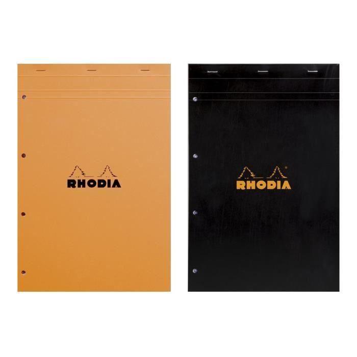 RHODIA - Bloc perforé - 21 x 31,8 - 160 pages 5 x 5 - Papier Velin Surfin P.E.F.C 80G - 2 couleurs aléatoires (Lot de 3)
