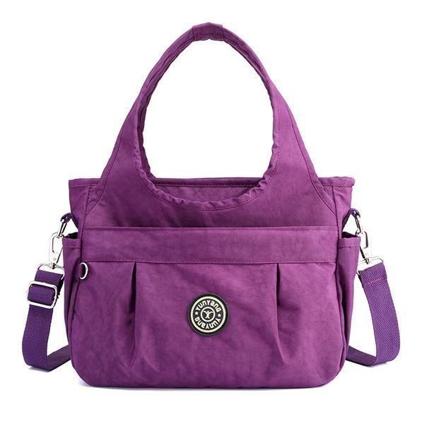 SBBKO1211WomenNylonSacàbandoulièreléger à sac à main résistant à leau pour femmes Dark Purple