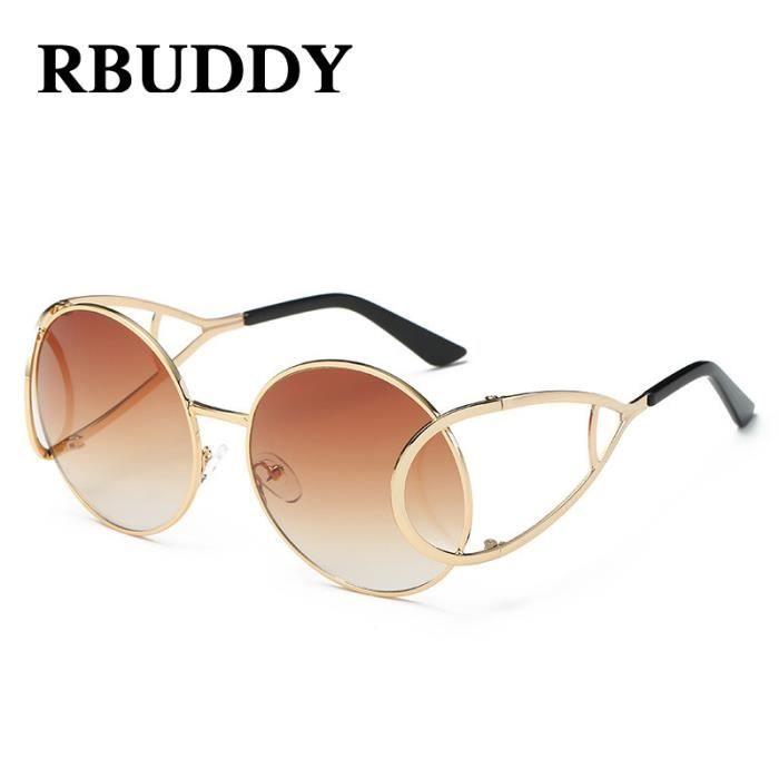 Lunettes de soleil de luxe RBUDDY Womans Brand Design Femmes Mode Sunglass Metal Frame filles Lunettes de soleil de haute qualité