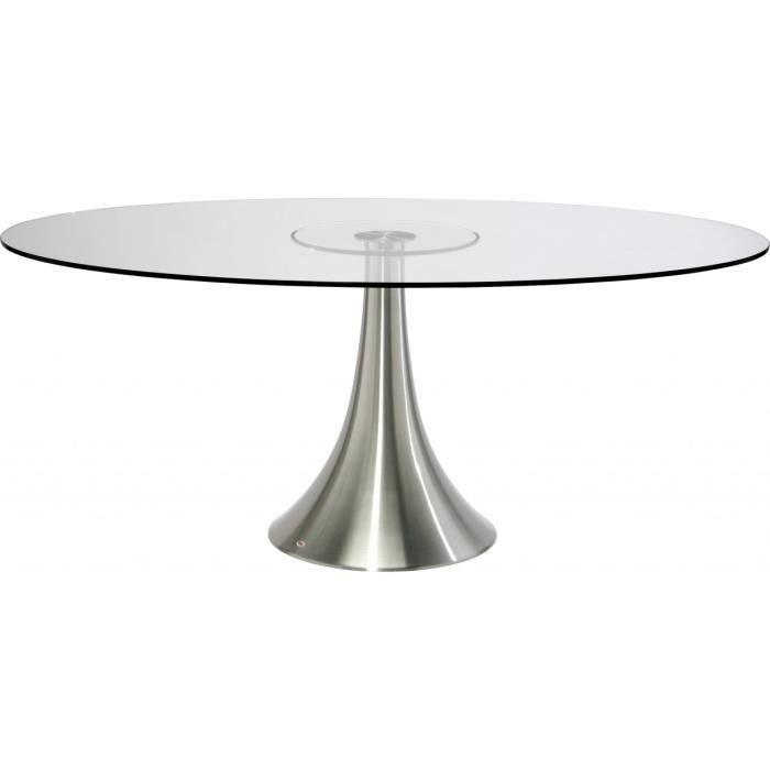 Table design ovale loft alu et verre 180 x 120 cm achat vente table man - Table a manger ovale design ...