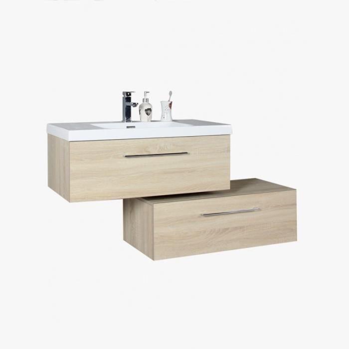 vasque a suspendre 2 Meuble sous vasque salle de bain suspendu 2 tiroirs 90cm, Meuble SDB  tiroirs décalés couleur chêne californien (Chêne Clair Beige)