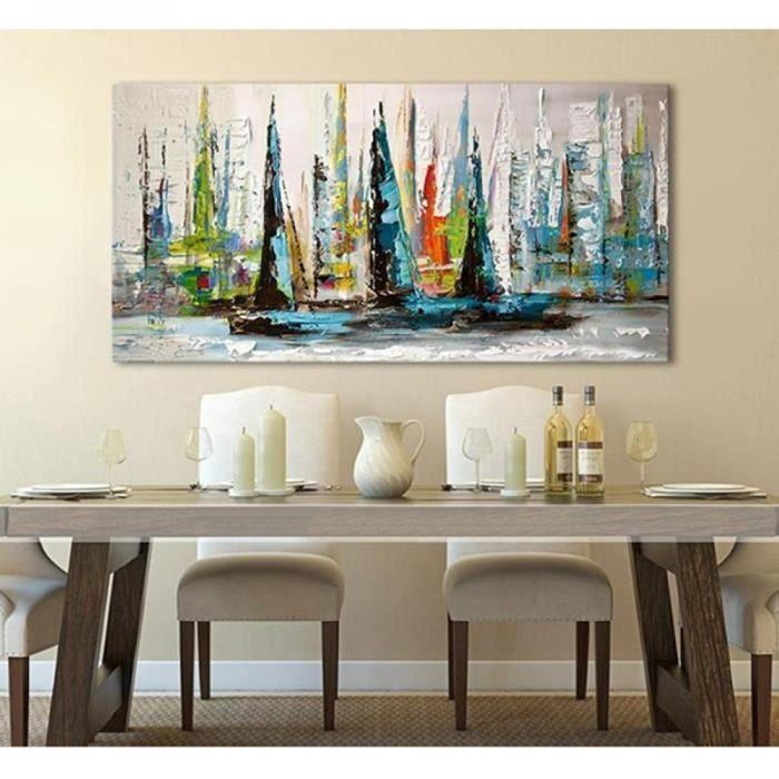 Tableau Peinture Huile Toile Bateaux Paysage Fait Main Art Contemporain D Co Sans Ch Ssis Sans: tableau salle de bain noir et blanc