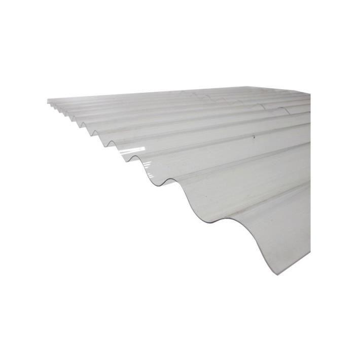PLAQUE - BARDEAU Plaque PVC ondulée - L: 2.5 m - l: 90 cm - Transpa