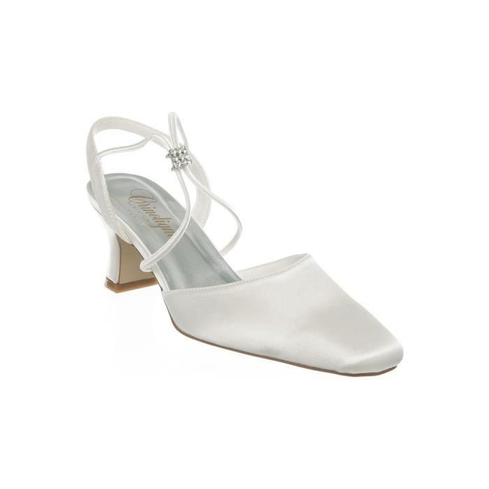 Chaussures d'une couleur blanche ou ivoire à talon pour femme - Ivoire - P-37 rx36HejT