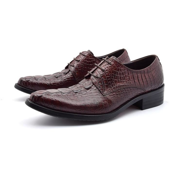Mode Hommes Chaussures Luxe Noir Marron Motif Pierre Italien en cuir Appartements pour Mariage