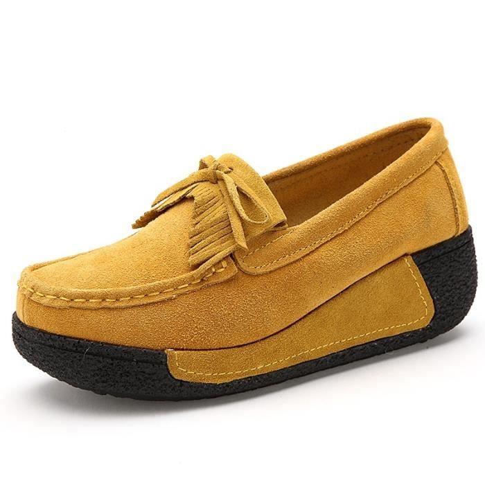 British Simple respirante Slip-on Chaussures en cuir suède de femmes