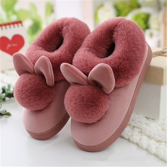 Oreilles de lapin Chaussons Femmes 2018 Hiver Nouvelle Chausson Garder au chaud Confortable chaussure Taille 35-41 k1kod