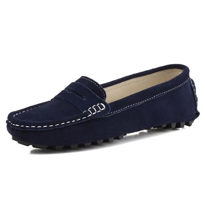 Suede Casual cuir Driving Mocassins Slip-on Penny Mocassins Chaussures bateau Flats II9KF Taille-39 1-2