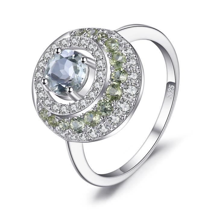JewelryPalace Naturel 1.4ct Vert Améthyste Péridot Halo Bague en Argent 925