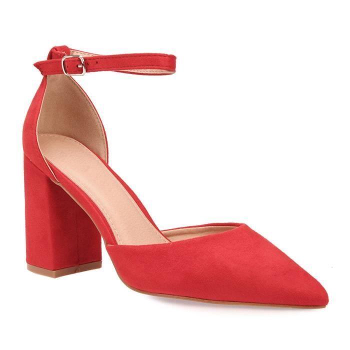 b562c3154f418f Escarpins rouges à bride et bout pointu Rouge Rouge - Achat / Vente ...