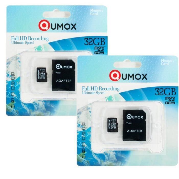 CARTE MÉMOIRE 2x QUMOX 32Go micro SD SDHC 32 go micro sd carte m