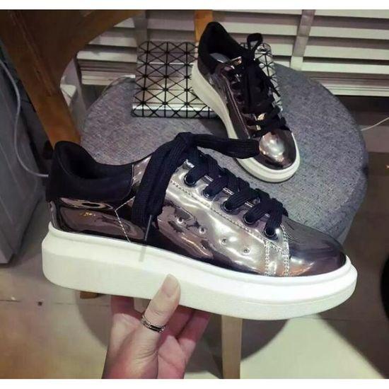 8dd17533f25 AJ chaussure à lacets miroirs -argent argent - Achat   Vente skateshoes -  Cdiscount