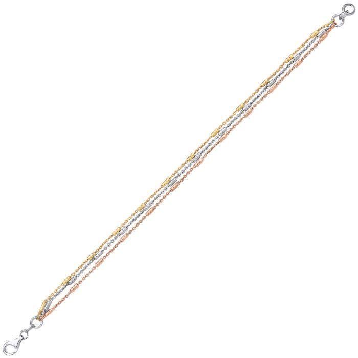 Jewelco London Plaqué Or Blanc, Jaune et Rose Argent Sterling Perle de barre à plusieurs brins Bracelet