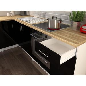Meuble de cuisine noire laque achat vente meuble de for Cuisine d angle complete