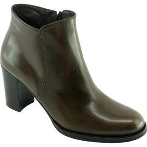 San Luis - Bottine raffinée à talon chaussure Boots mode pour femme petites pointures marque Plumers cuir velours bordeaux PAHh33Tt3g